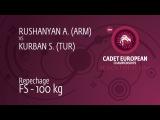 Repechage FS - 100 kg: A. RUSHANYAN (ARM) df. S. KURBAN (TUR), 13-5
