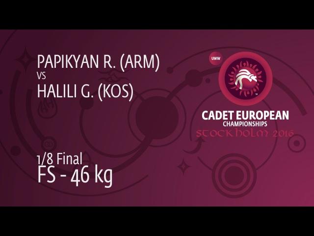 1/8 FS - 46 kg: R. PAPIKYAN (ARM) df. G. HALILI (KOS) by TF, 14-1