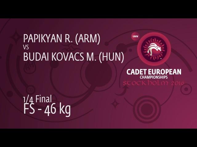 1/4 FS - 46 kg: R. PAPIKYAN (ARM) df. M. BUDAI KOVACS (HUN) by TF, 12-1