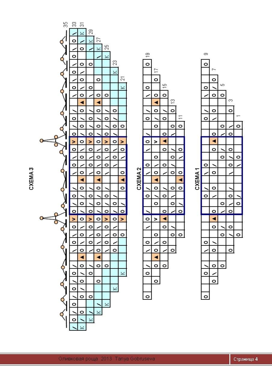 шаль оливковая роща схема вязания
