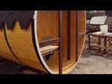 Баня-бочка с двумя террасами