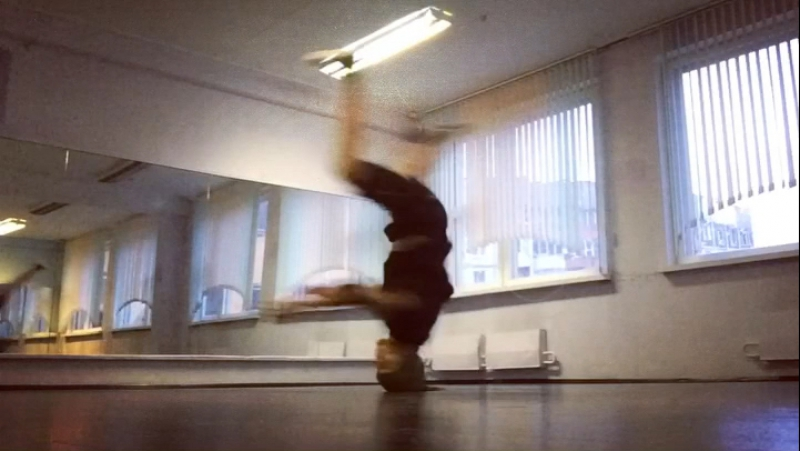 Bboy SirOp practice time, Friday.
