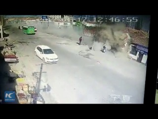 CCTV: Truck slams into residential building in NW China, 5 dead