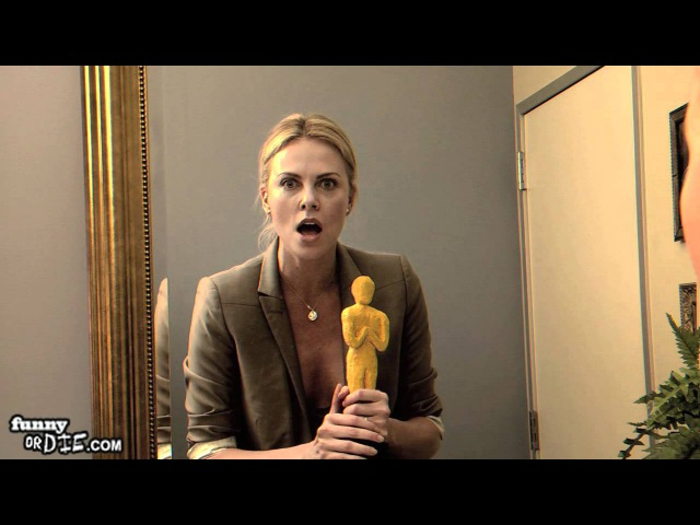 Charlize Practices Her Oscar Acceptance Speech