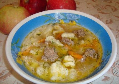 Суп с фрикадельками с клецками рецепт с фото пошаговый