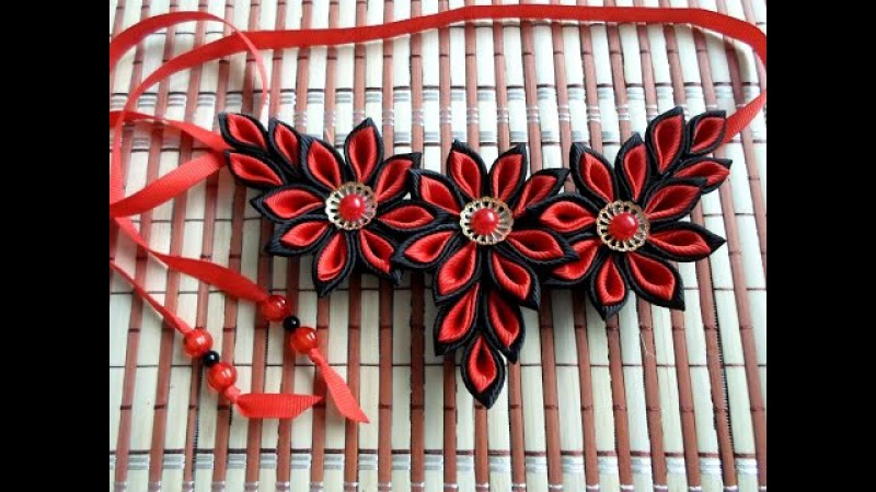 Ожерелье в стиле канзаши)из репсовой ленты,МК от Наталии Кухта)