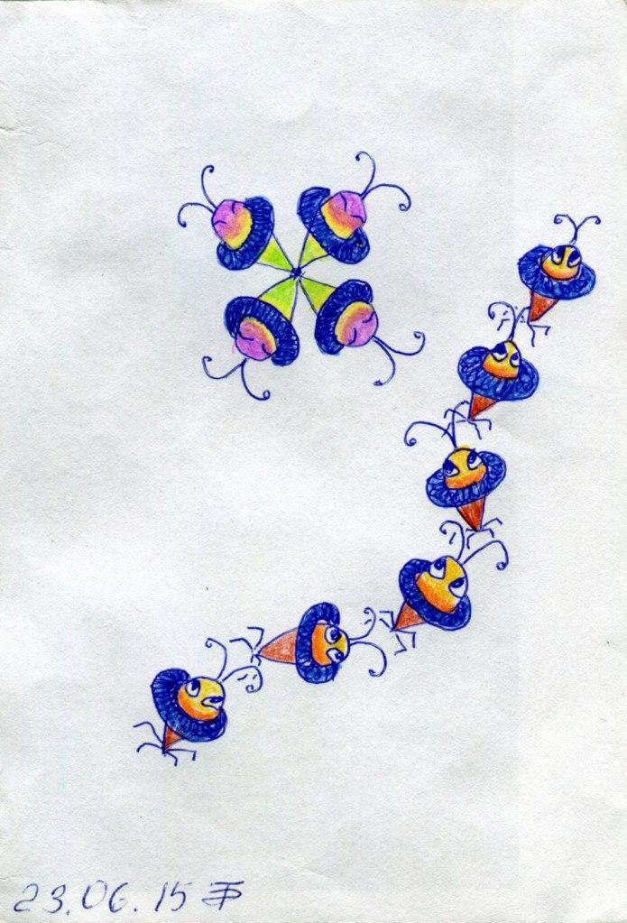 Зарисовочка Космические муравьи. Шариковая ручка, цветные карандаши и фантазия.