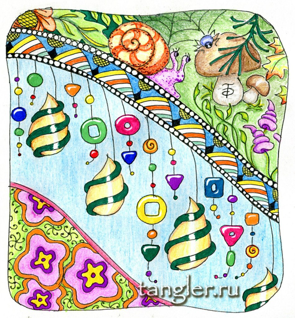 Зенарт Улитка и ёлочные игрушки, линер, цветные карандаши