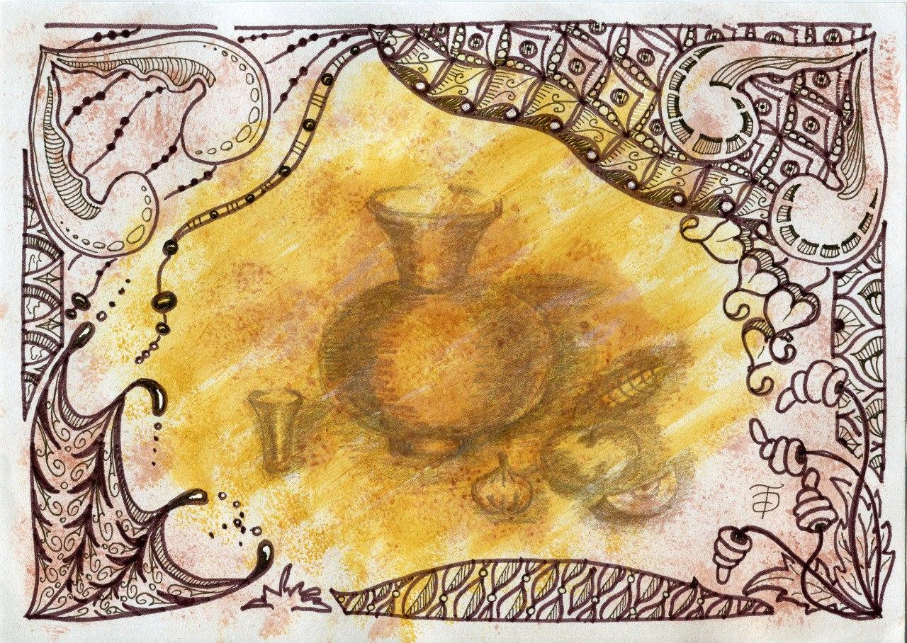 Зенарт Раскопки,акрил, коричневый линер и фломастер, карандаш мераллик