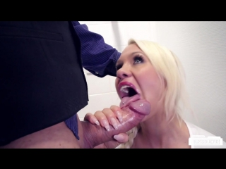 Busty German blonde secretary Celina Davis fucks boss in the bathroom