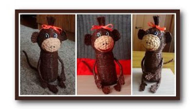 Плетёная поделка обезьяна из газетных трубочек / Wicker monkey from newspaper tubes