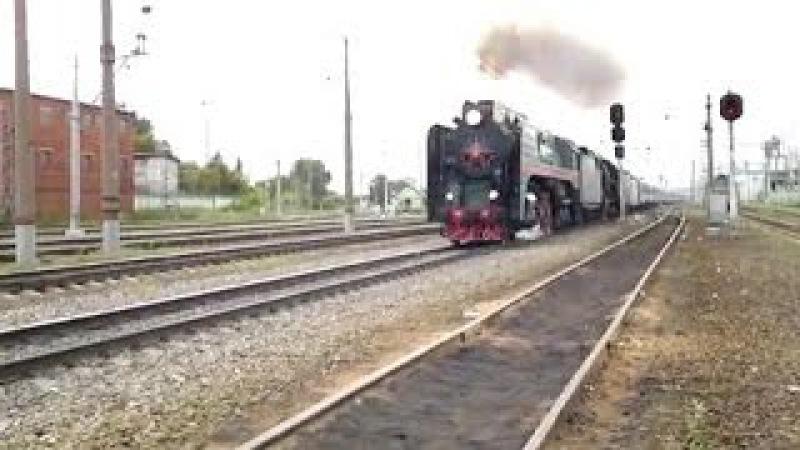 Паровозы П36-0120 и ЛВ-0283 с поездом Золотой Орел (Перово-IV)