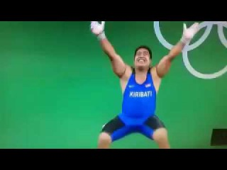 funny moments of the Olympic Games Rio 2016 David Katoatau of Kiribati funny dance   Weightlifting