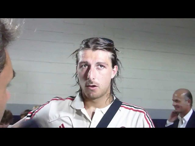 Francesco Acerbi of AC Milan talks to the media after the 3-1 win over Olimpia CD
