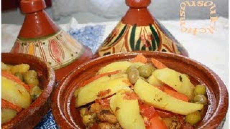 Tajine Poulet P.de Terre et Olives/Chicken Tagine with Potato,Olives -Sousoukitchen