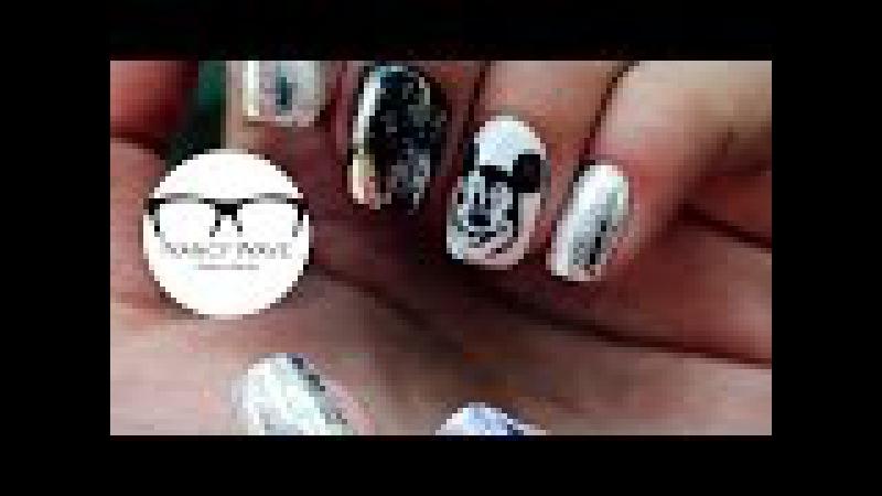 Маникюр с фольгой   Микки Маус на ногтях   Mickey Mouse on nails   Nancy Wave