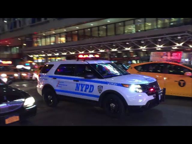 12 NYPD Police Units Responding Blasting Their Rumbler Sirens As They Make Their Way Thru Traffic