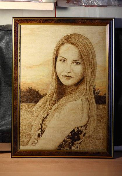Профессиональное выжигание ваших портретов по дереву с фотографии. От