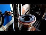 Нагрев колеса ф230 мм на индукционном нагревателе ВЧ-120АБ