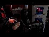 Нагрев трубы 56х12 на индукционном нагревателе СЧ-40АБ для кузнечной обработки
