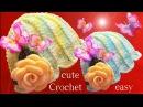 Aprende como tejer a Crochet gorro flor con aplicaciones de mariposas 3D y rosas en una tira