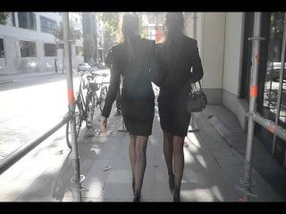 2 sexy secretary dangling (shoeplay) @brussels in louboutin high heels & backseem stockings