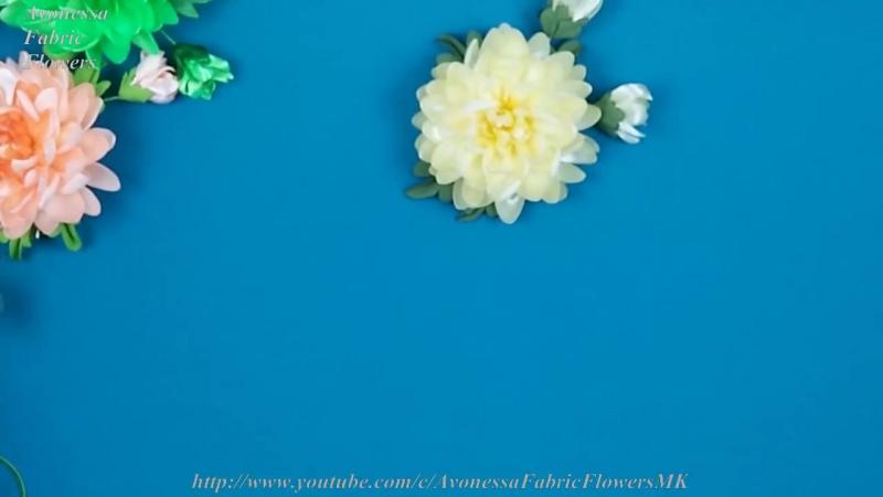 Ribbons Chrysanthemums_Crisantemos de cintas_Хризантемы из лент