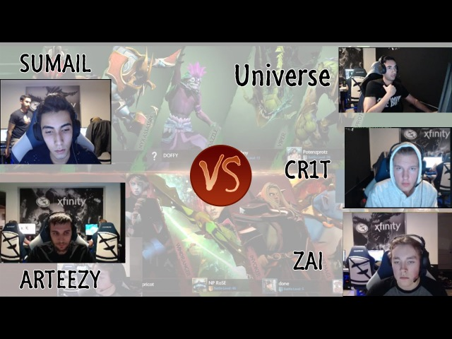 Arteezy, Sumail VS Zai, Cr1t, Universe (Ranked game in the same room)
