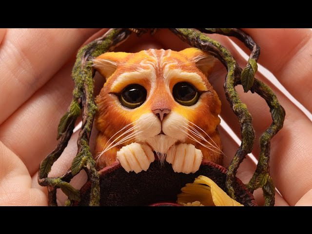 ❤1❤ Polymer Clay Puss in boots inspired by Dreamworks ❤reupload❤
