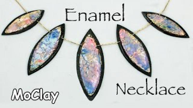 Polymer clay necklace - Embossing Powder Enamel
