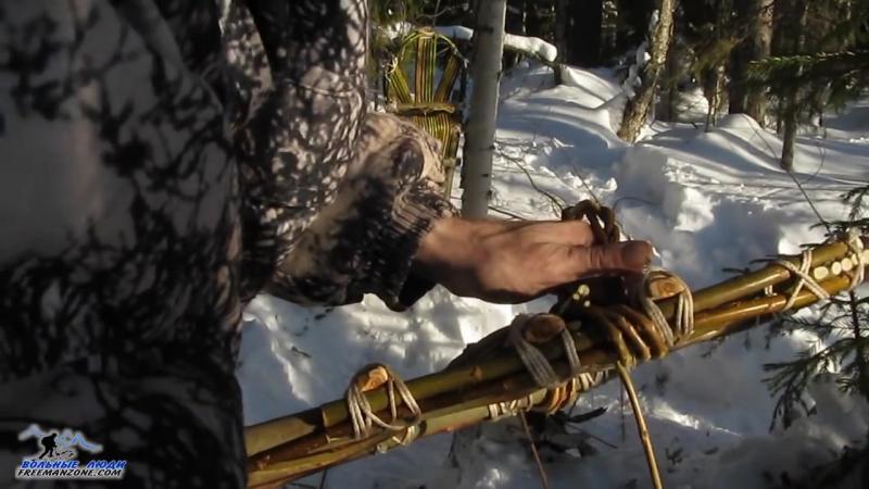 СНЕГОСТУПЫ. homemade snowshoes Изготовление снегоступов в тайге. Крепкий вариант. Полный цикл.