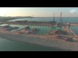 Крымский мост с высоты - стройка от Тамани до Керчи