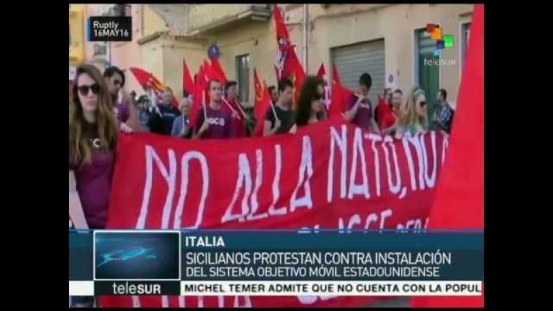 Sicilianos protestan contra objetivo móvil de EE.UU.