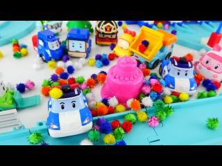 Arabalar - Robocar Poli ve Doğum günü partisi. Çocuk videoları ve oyunları