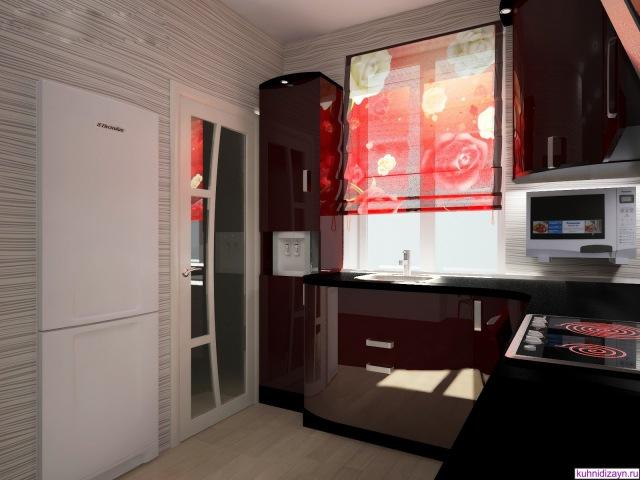 Бордовая кухня - дизайн кухни в бордовом цвете