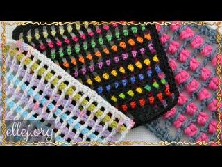 Пестрый узор крючком. How to crochet the multicolour filet mesh.