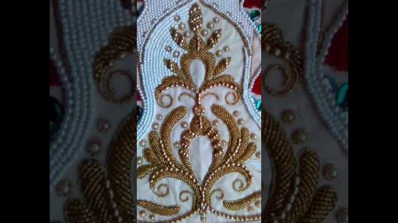 Вышивка бисером по настилу орнамента на платьице Часть 2 смотреть онлайн без регистрации