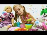 Игры для детей. Пластилин Плей До: готовим для куклы Алисы пирожное, идем на пикник. Видео для детей