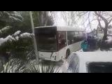 Пассажирский автобус протаранил 4 автомобиля и вылетел на тротуар