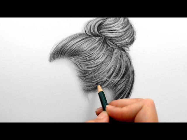 Timelapse | Drawing, shading realistic hair bun with graphite pencils | Emmy Kalia
