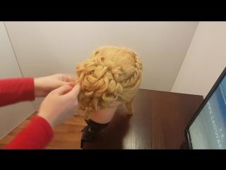 прически вечерние романтические объемная прическа локоны и плетение 4-х прядная легкая коса