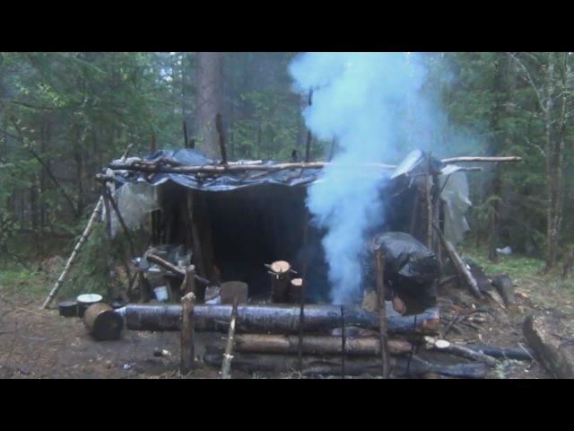 Выживание в тайге. Строим Таежный балаган или шалаш. Быт и проживание. Тайга . Рыбалка. Охота.