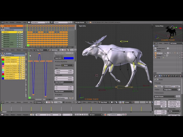 Animate a Moose in Blender Part 2 Trot Cycle