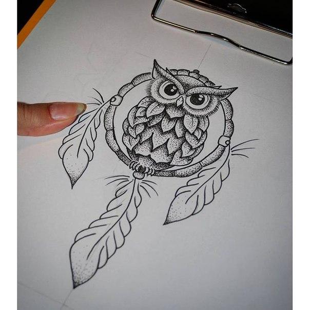 мехенди сова фото