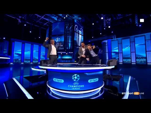 Gary Lineker Steven Gerrard Owen Barca vs PSG 6-1 UCL Crazy Celebration