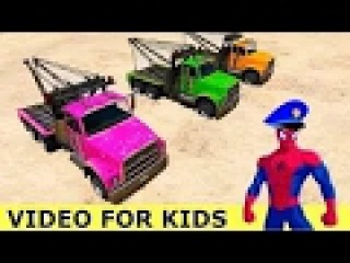 Spiderman Green Truck Cars Cartoon with for Kids and Nursery Rhymes Songs
