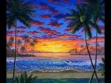Как нарисовать закат на пляже использованием акрил