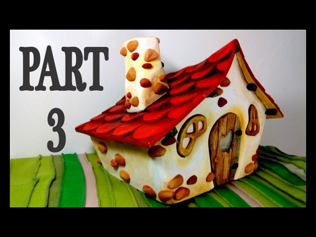 ❣DIY Fairy House - Part 3/3 - Making roof tiles, chimney, faux wood and stone details and painting❣