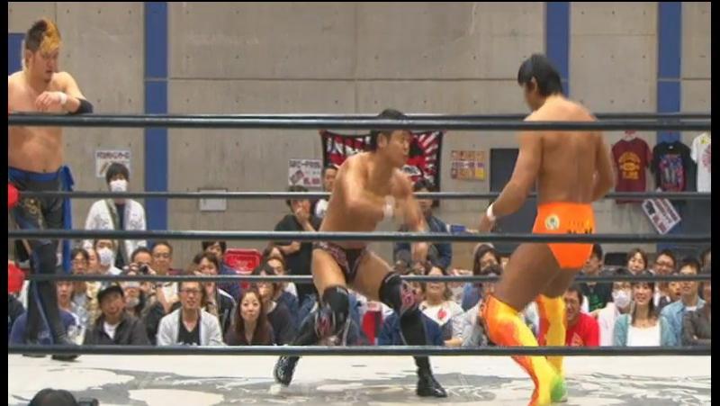 Daichi Hashimoto, Hideyoshi Kamitani, Masakatsu Funaki vs. Kazuki Hashimoto, Ryuichi Kawakami, Tatsuhiko Yoshino BJW 15.05.2017