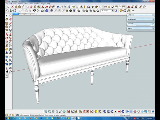 Modeling soffa with sketchup